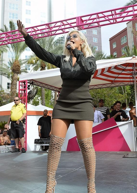 Singer/Songwriter Bebe Rexha Performs Live at the Flamingo GO Pool in Las Vegas