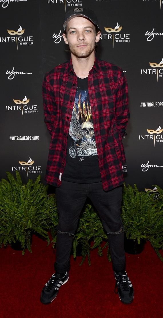 usician/actor Louis Tomlinson arrives at the grand opening of Intrigue Nightclub at Wynn Las Vegas on April 29, 2016 in Las Vegas