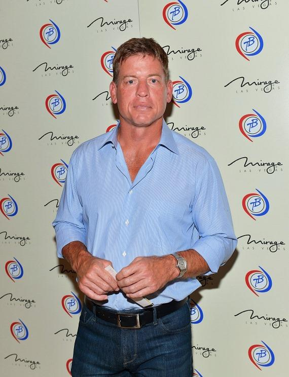 elevision personality and former National Football League player Troy Aikman arrives at the 'Terry Bradshaw: America's Favorite Dumb Blonde… A Life in Four Quarters' show premier at The Mirage Hotel & Casino