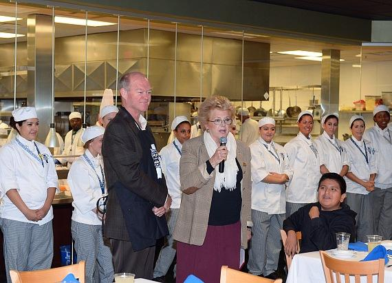 Gabriel from Von Tobel Middle School with Mayor Carolyn Goodman
