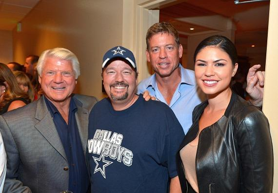 Television personality & former National Football League head coach Jimmy Johnson, comic ventriloquist & impressionist Terry Fator, television personality & former National Football League player Troy Aikman and model/performer Taylor Makakoa appear backstage at the 'Terry Bradshaw: America's Favorite Dumb Blonde… A Life in Four Quarters' show premier at The Mirage Hotel & Casino