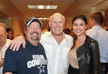 Comic ventriloquist and impressionist Terry Fator, television personality and former National Football League player Terry Bradshaw and model/performer Taylor Makakoa appear backstage at the 'Terry Bradshaw: America's Favorite Dumb Blonde... A Life in Four Quarters'