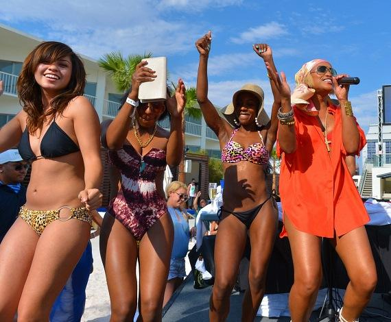 Eve with dancers at Las Vegas' Bagatelle Beach