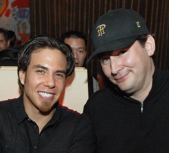 Apolo Ohno with poker legend Phil Helmuth Jr. celebrates his 29th birthday at Blush Boutique Nightclub