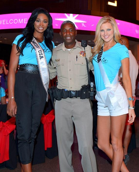 """Miss USA 2012 Nana Meriwether, Sergeant Tom Jenkins of """"Vegas Strip"""" and Miss Nevada Chelsea Caswell"""