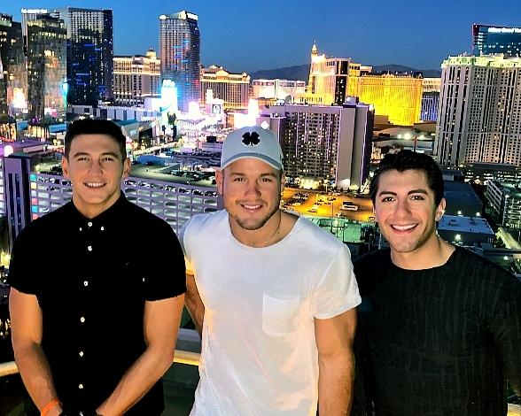 Bachelor Colton Underwood & Friends Jason Tartick and Blake Horstmann at MGM Grand in Las Vegas