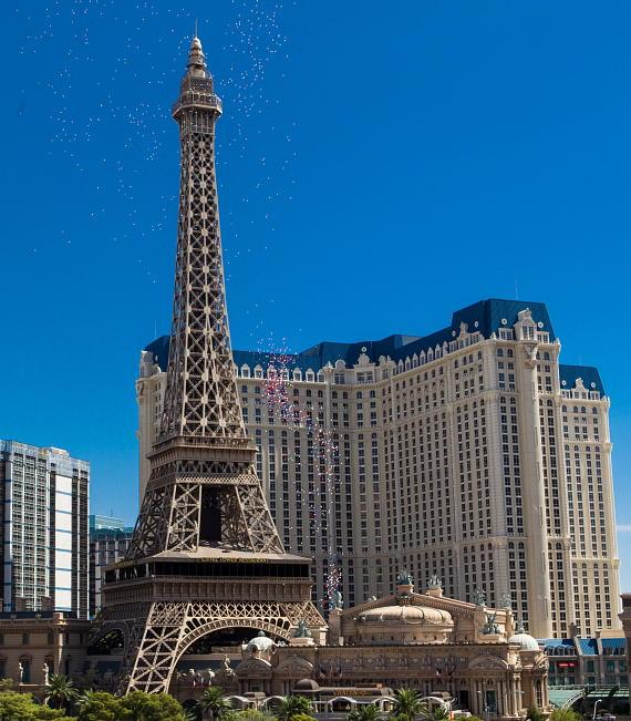 In celebration of the Eiffel Tower Experience 10 millionth visitor 5,000 red, white and blue biodegradable balloons were launched in front of Paris Las Vegas