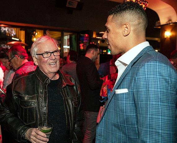 VGK owner Bill Foley and Ryan Reaves celebrate the launch of 7Five Brewing Co. at Hyde Bellagio in Las Vegas