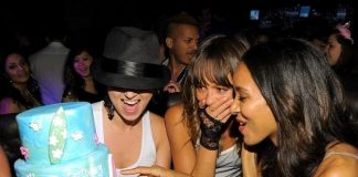 Sasha Jackson, Sharni Vinson and Elizabeth Mathis with birthday cake at Gallery Nightclub