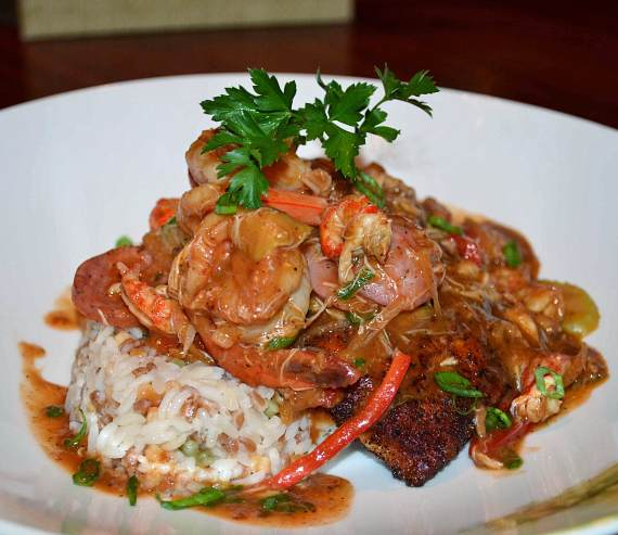 Blackened Snapper with seafood etouffee