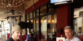 Brace Land and Marklen Kennedy dining at Meatball Spot at Town Square Las Vegas