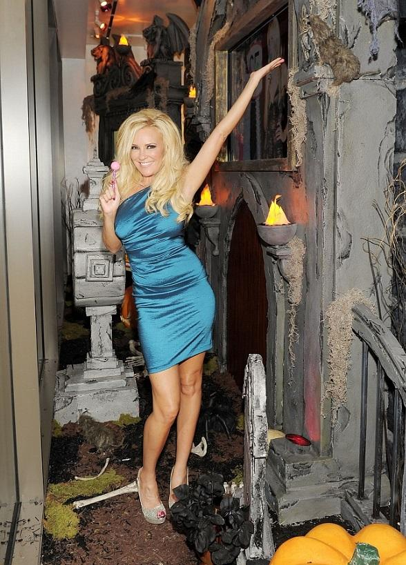 Bridget Marquardt in the window Halloween display at the Sugar Factory retail store