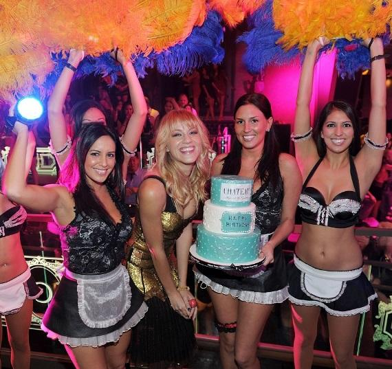 Brit Morgan with birthday cake at Chateau Nightclub & Gardens in Las Vegas
