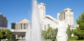 Caesars Palace Turns Front Fountains Purple in Honor of Spirit Day
