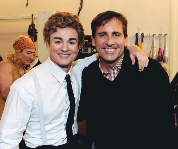 Steve Carell with cast member of The Beatles LOVE by Cirque du Soleil