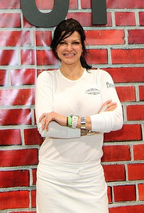 Carla Pellegrino serving convention-goers at the Consumer Electronics Show