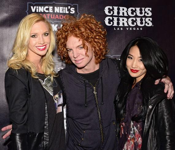 Carrot Top with friends at Vince Neil's Tatuado Eat-Drink-Party! at Circus Circus