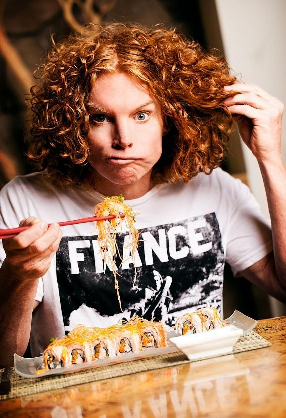 Comedian Carrot Top with walk the Black Carpet at Fright Dome on Sept. 29