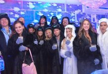 Quarterback Carson Palmer and Defensive End Frostee Rucker of the Arizona Cardinals visited Minus5 Ice Bar at The Shoppes at Mandalay Bay