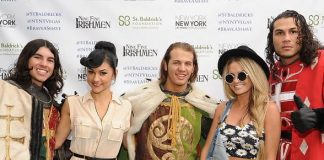 Melody Sweets and Angel Porrino with cast members of Tournament of Kings