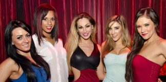 Cast of FANTASY with Jaime Lynch (center) at LAX Nightclub
