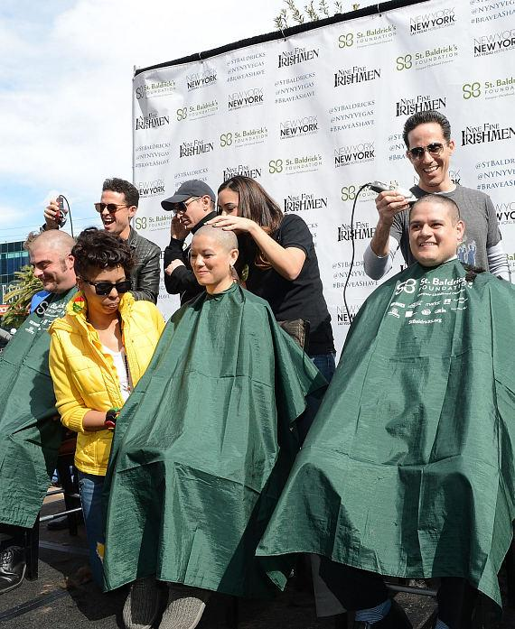 Cast of Jersey Boys supporting St Baldricks Day fundraiser for childhood cancer research at New York - New York Hotel & Casino on March 1, 2014-570