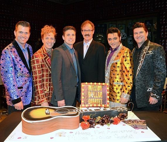 Cast of Million Dollar Quartet Las Vegas with Caesars Entertainment Executive Damian Costa and Ted Rawlins 3; First Anniversary-570