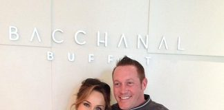 Celebrity chef Giada De Laurentiis and Bacchanal Buffet's Executive Chef Scott Green at the Bacchanal Buffet at Caesars Palace in Las Vegas