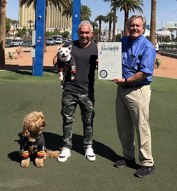 Cesar Millan Welcomed to Las Vegas by Bark-André Furry and Sir Winston Ahead of Shows at MGM Grand