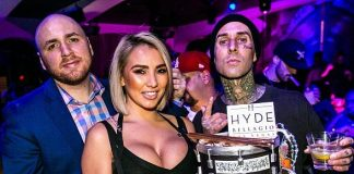 Legendary Drummer Travis Barker Celebrates 43rd Birthday at Hyde Bellagio in Las Vegas Alongside Blink-182 Singer Matt Skiba