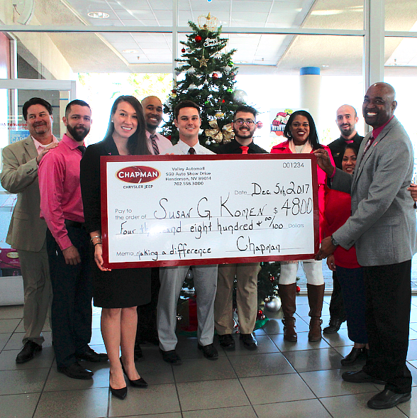 """Chapman Chrysler Jeep Spreads Holiday Cheer by Donating """"Cars for the Cure"""" Proceeds to Susan G. Komen Nevada"""