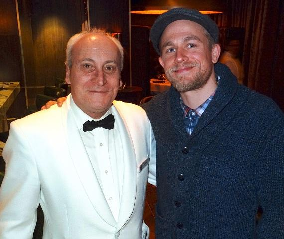 Charlie Hunnam with waiter John at Andiamo Las Vegas