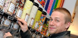Charlie Hunnam picking out candy at Sugar Factory