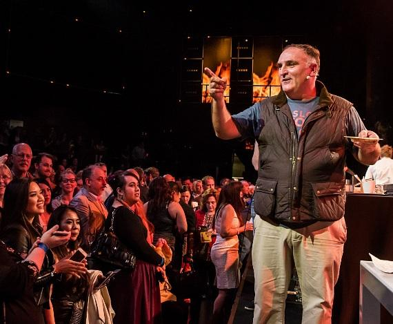 Chef Jose Andres during a cooking demonstration at Dine-N-Dash at SLS Las Vegas