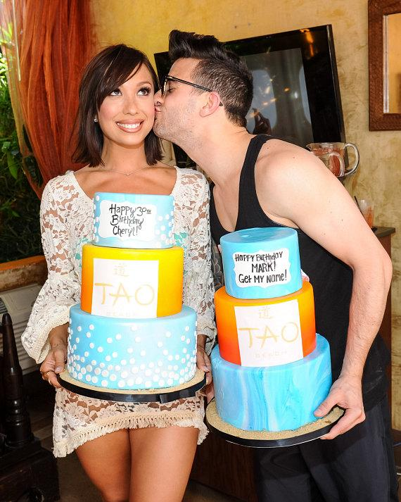 Cheryl Burke and Mark Ballas with Birthday Cakes