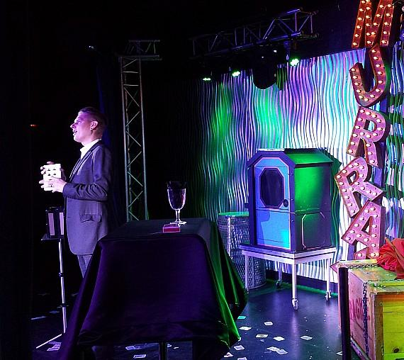 "Chris Funk performs in ""Murray 'Celebrity Magician'"" at Planet Hollywood"