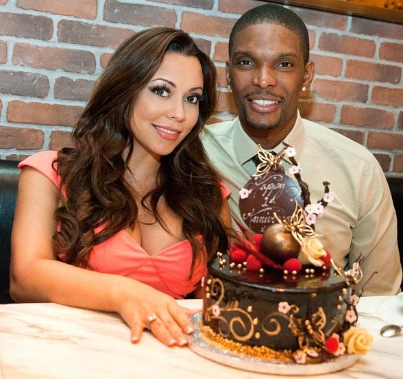 Chris and Adrienne Bosh celebrating their 1 year anniversary at D.O.C.G. at the Cosmopolitan in Las Vegas