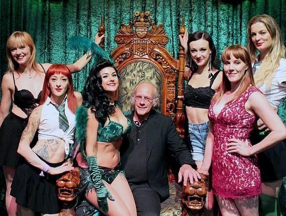 Christopher Lloyd with female cast members of ABSINTHE