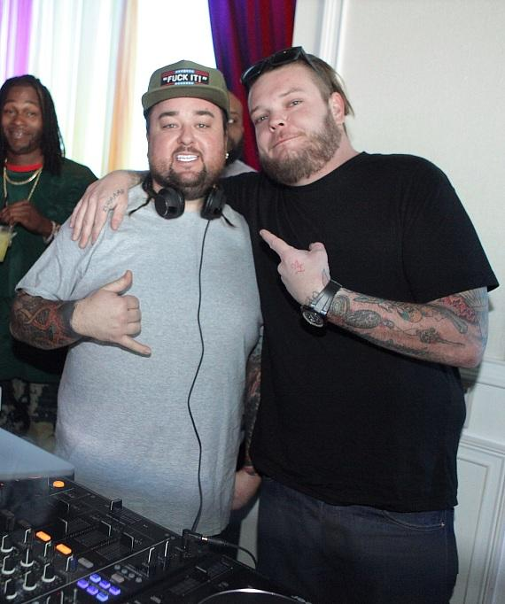 Chumlee and costar Corey Harrison pose for a photo at GBDC