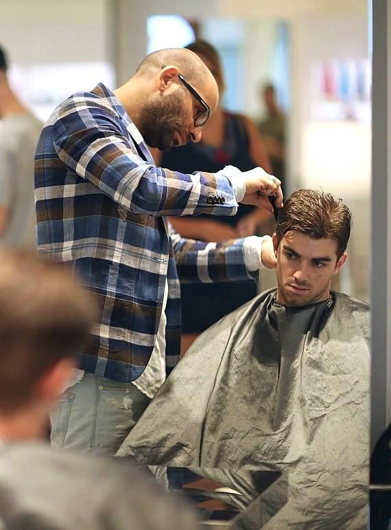 Andrew Taggart and Alex Pall from the Chainsmokers Enjoy a Haircut and Style at the Claude Baruk Salon Inside Wynn Las Vegas