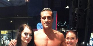 WWE Stars Alberto Del Rio and Paige spotted at Club Tattoo in Miracle Mile Shops