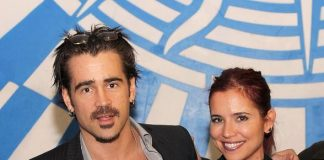 """Colin Farrell and his sister Claudine Farrell backstage at """"O"""""""