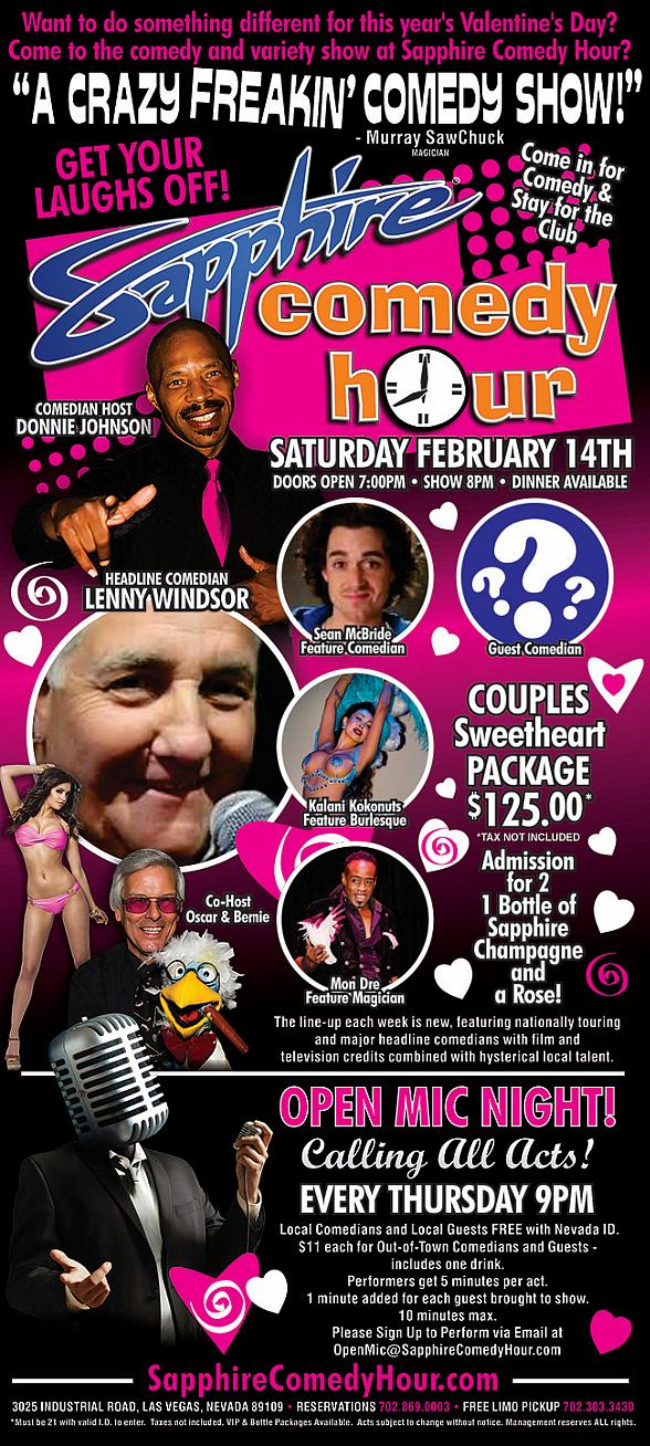 Comedian Lenny Windsor to Headline Sapphire Comedy Hour on Saturday, Feb. 14