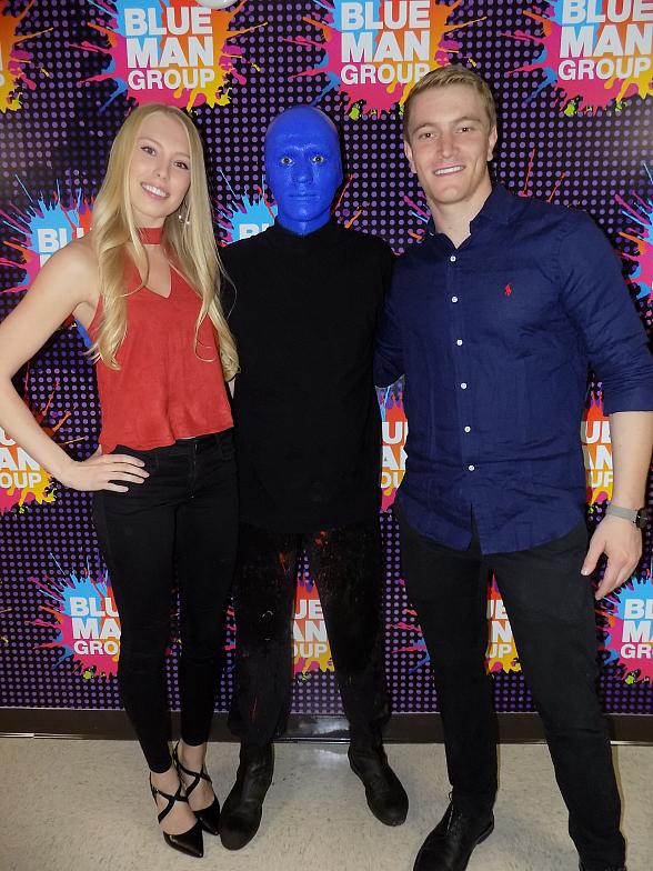 Tonight (Friday, October 21, 2016), Connor Fields an American professional BMX racer and 2016 Olympic gold medal winner in the 2016 Summer Olympics attended Blue Man Group in Las Vegas inside Luxor Hotel and Casino. Following the performance, Connor and his girlfriend were treated to a private VIP meet-and-greet with a Blue Man.
