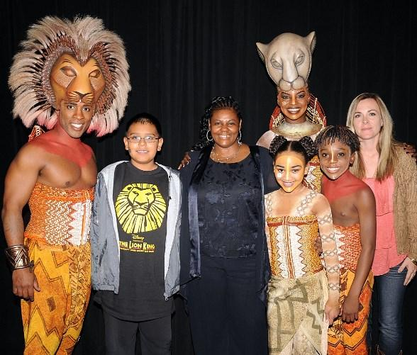 Cornelius Jones Jr., Danielle Hernandez, Principal Dr. Joyce Brooks, Nia Harris, Samantha Ware, Zaire Adams, Danielle Rayos at LION KING