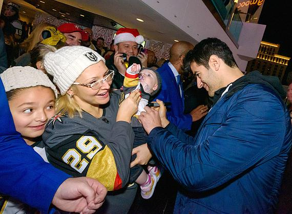Max Pacioretty and fans at Cosmopolitan Tree Lighting Ceremony