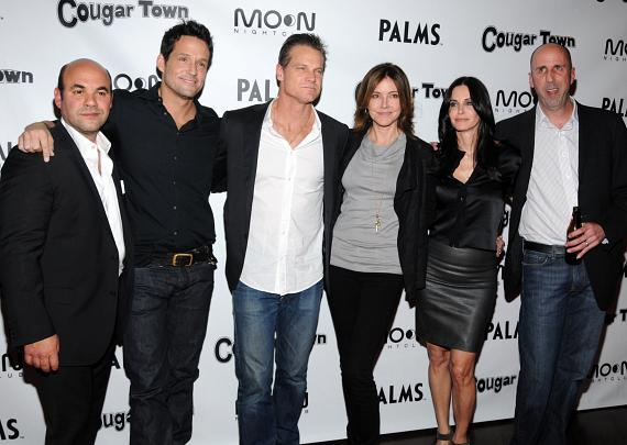 Ian Gomez, Josh Hopkins, Brian Van Holt, Christa Miller, Courteney Cox and Bob Clendenin arrive at ABC's 'Cougar Town' viewing party at Moon Nightclub at Palms Casino Resor