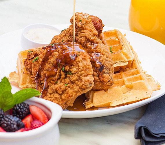 Country fried chicken and waffles