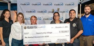 Vegas Golden Knights Foundation with Support of Credit One Bank Presents Opportunity Village with a $100,000 Check at First Friday
