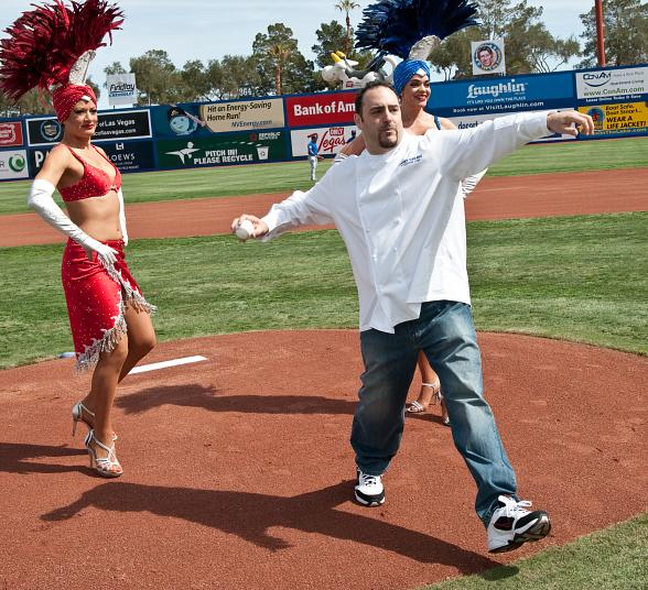 Chef Barry throws out the first pitch for the Chicago Cubs vs. Los Angeles Dodgers game at Cashman Field